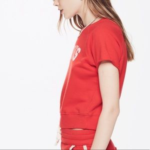 MOTHER Tops - Mother Red Raw Sleeve Square Sports
